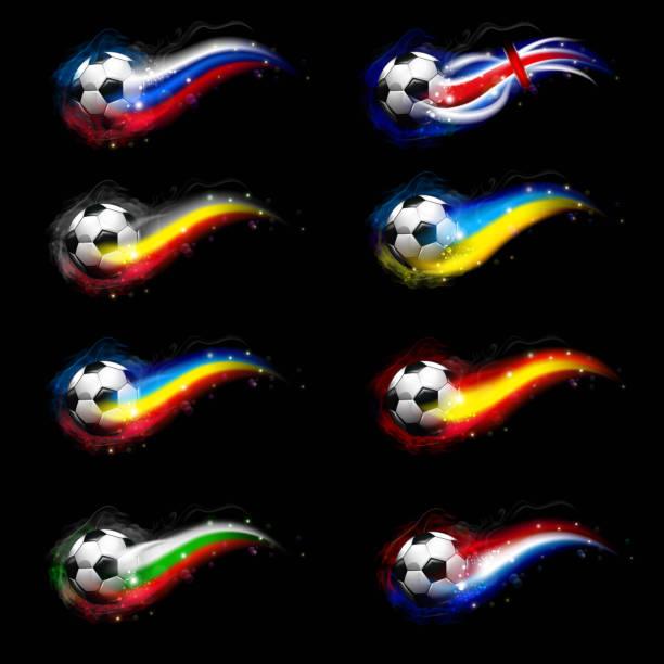 Soccer balls with flags vector art illustration