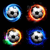 Soccer ball in flames of fire, lightning and water trail behind. 10 EPS file with transparency effects and overlapping colors