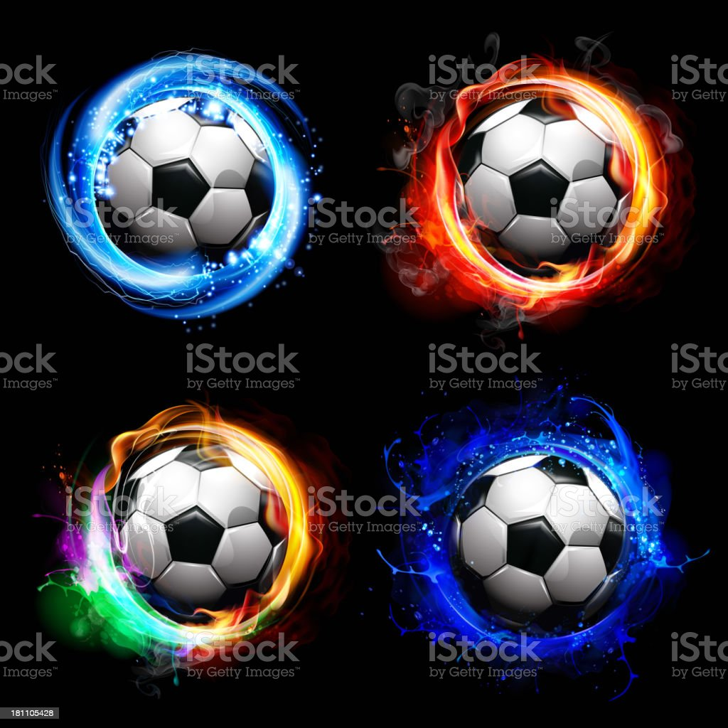 soccer balls-special effects vector art illustration