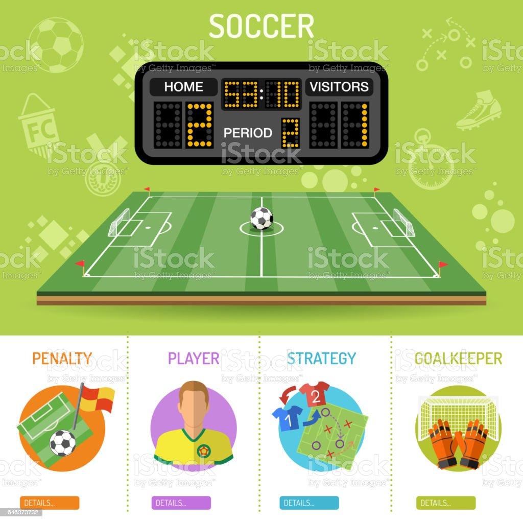 Fútbol bandera e infografía - ilustración de arte vectorial