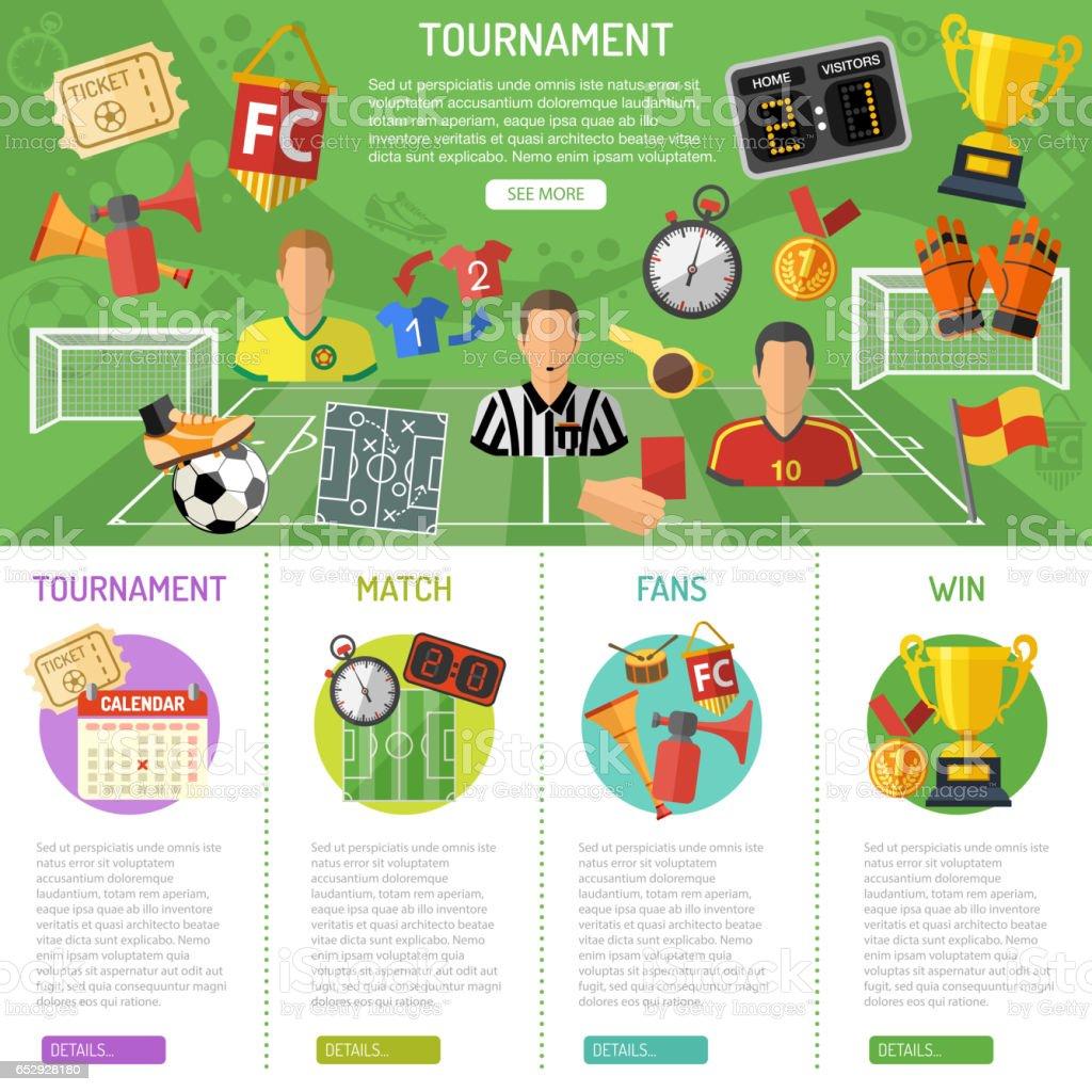 Soccer Banner and infographics - ilustración de arte vectorial