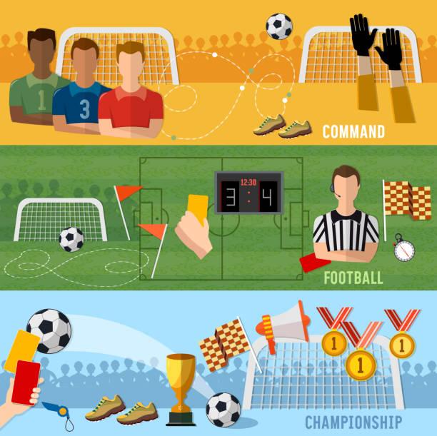 Soccer banner, football sport team signs and symbols elements of professional soccer, world championship vector art illustration