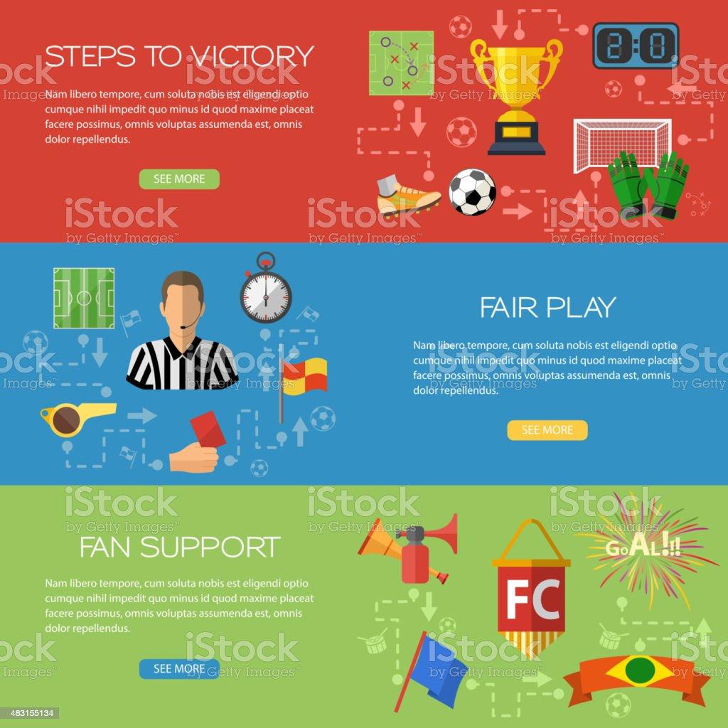 Banners de fútbol - ilustración de arte vectorial