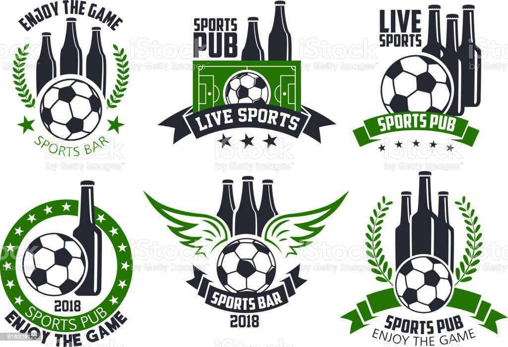 Soccer live game icons of football ball for sports pub or fan club...