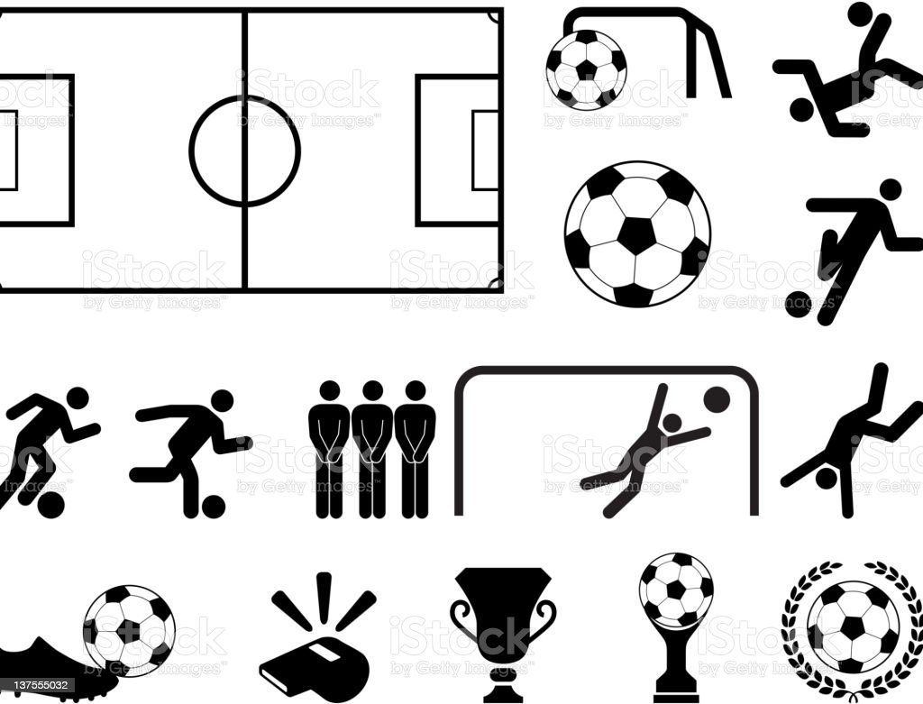 Soccer black and white royalty free vector icon set vector art illustration