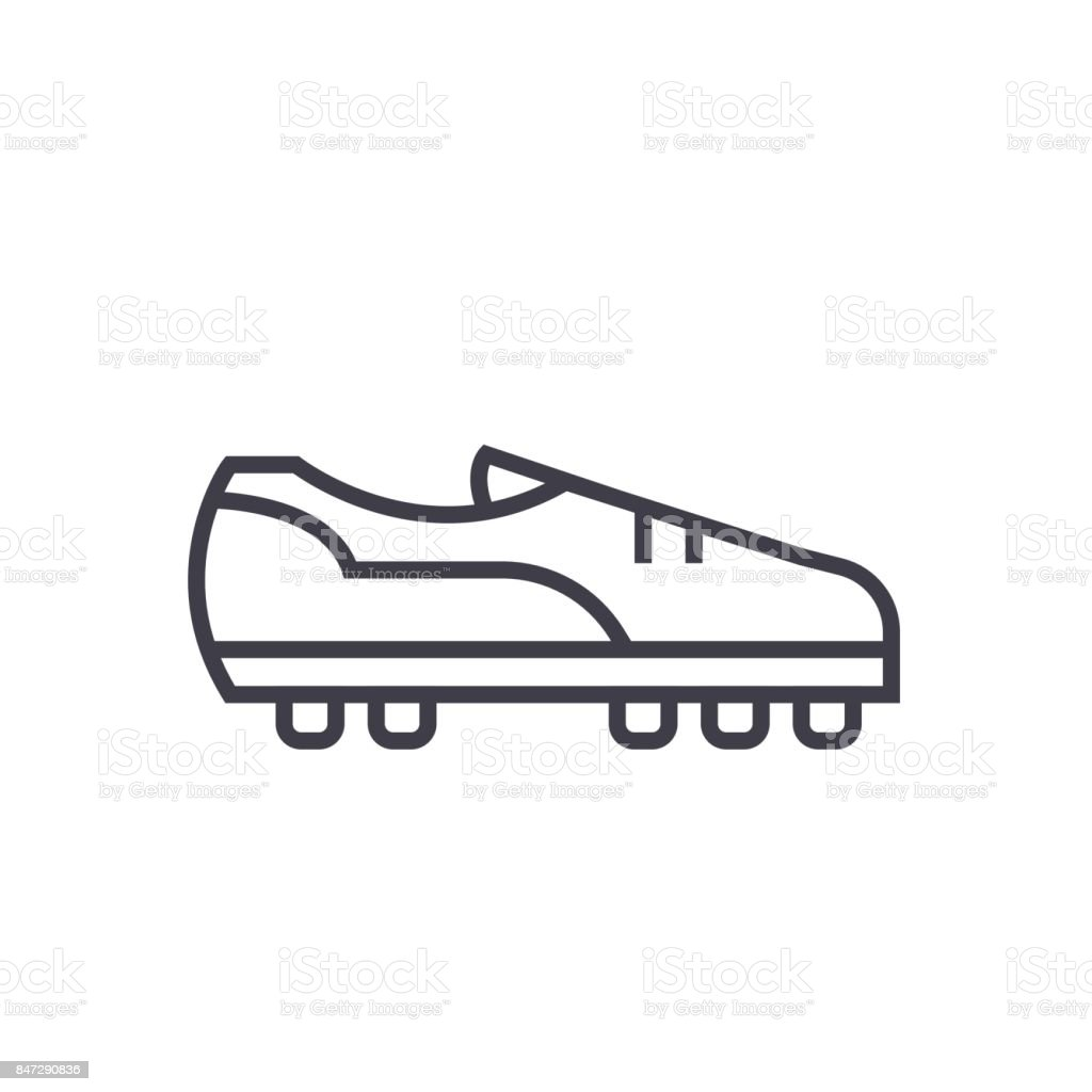 Soccer boot flat line illustration, concept vector isolated icon on white background vector art illustration
