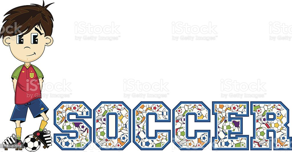 Soccer Boy Learn to Read Illustration royalty-free stock vector art