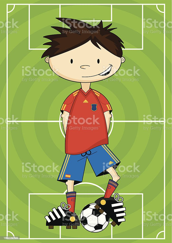 Soccer Boy on Pitch royalty-free stock vector art