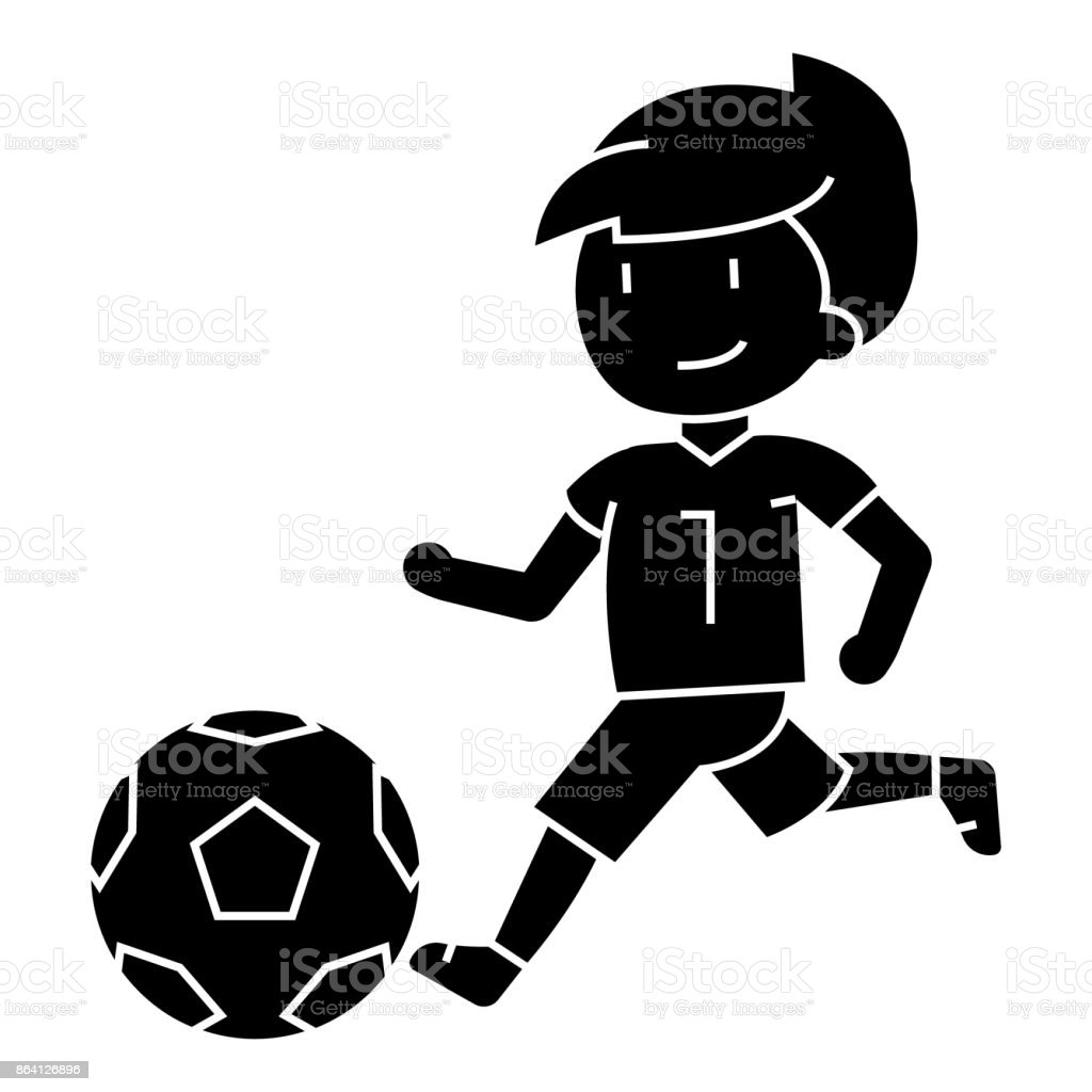 Soccer Boy Playing Football Icon Vector Illustration Sign On