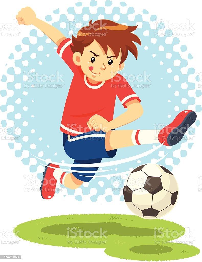 Soccer Boy Shooting The Ball To Make A Goal. vector art illustration