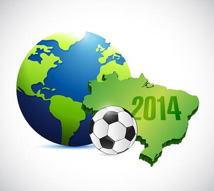 Soccer brazil map 2014 illustration design