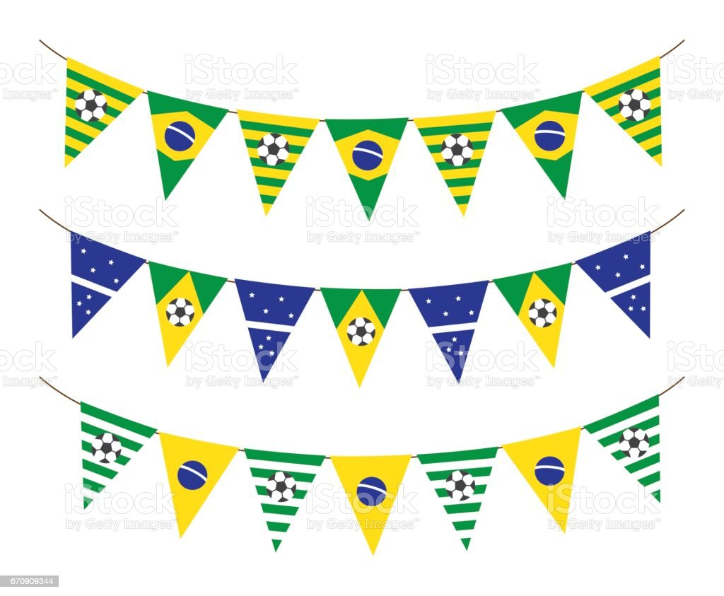 soccer bunting flag vector art illustration