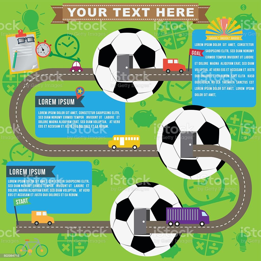 Soccer business infographics, vector format vector art illustration