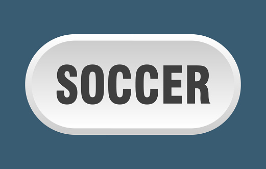 soccer button. rounded sign on white background