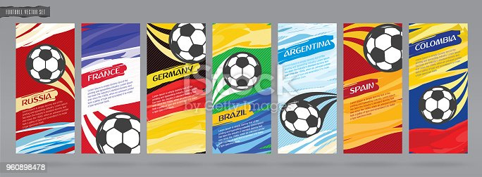 istock Soccer card design, football vector set. 960898478