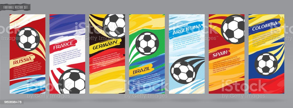 Soccer card design, football vector set. vector art illustration