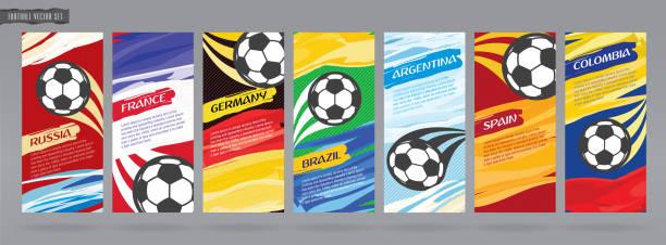 Diseño de tarjeta de fútbol, fútbol vector conjunto. - ilustración de arte vectorial