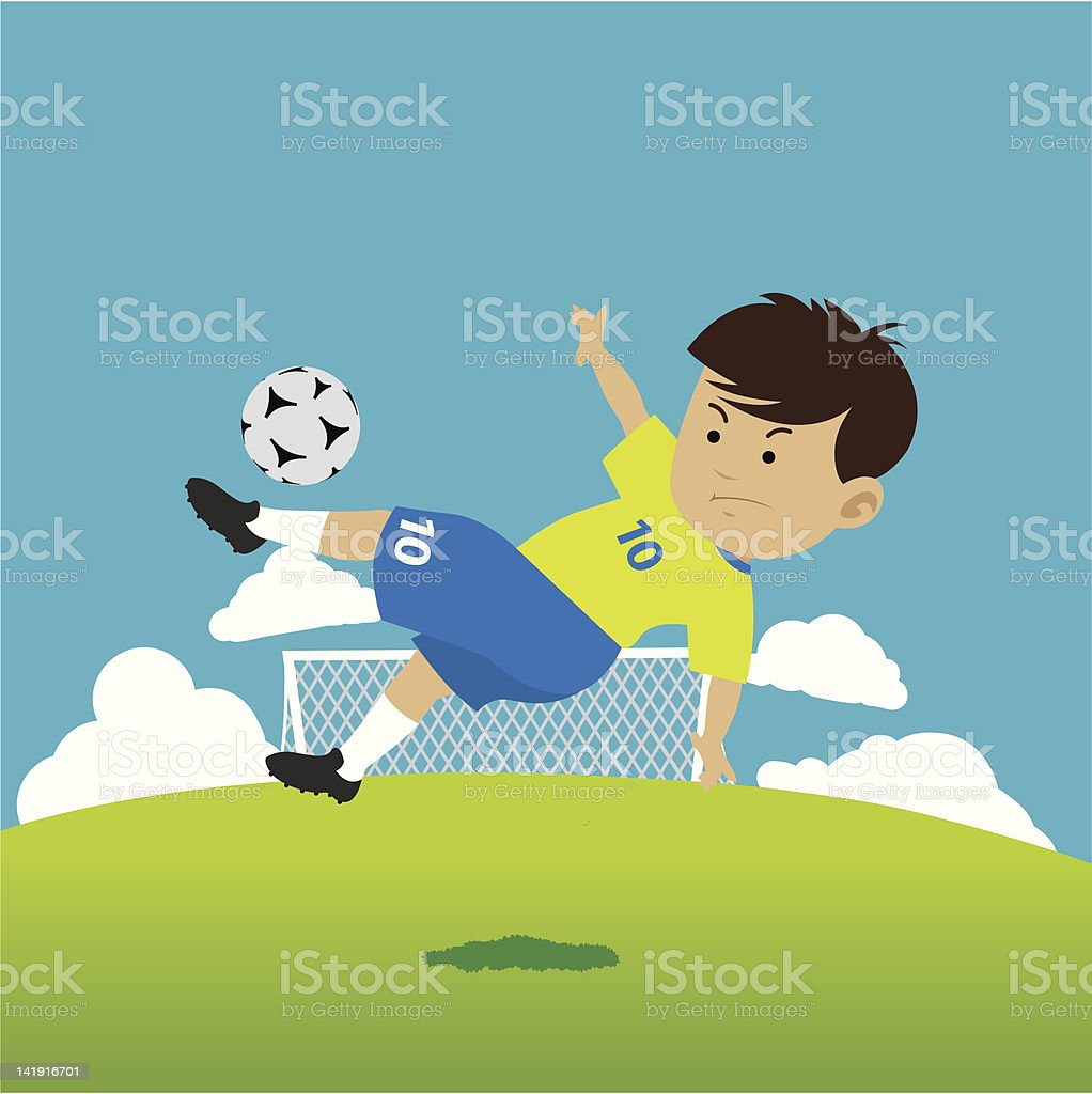 A vector soccer champ in bicycle kick pose