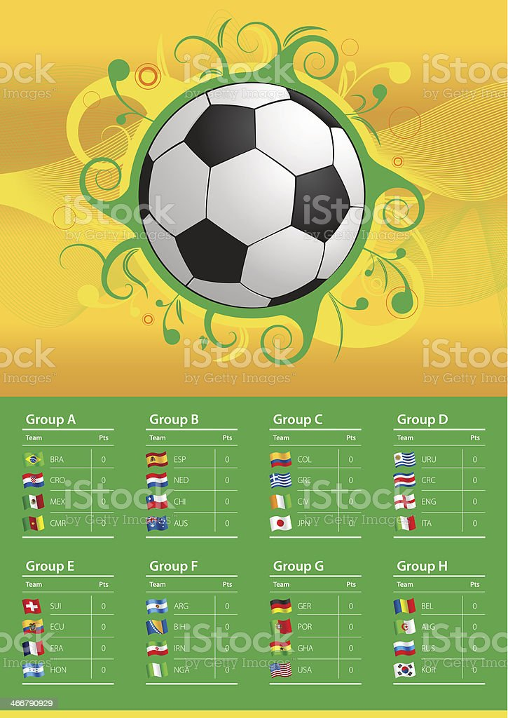 Banderas de campeonato de fútbol 2014 - ilustración de arte vectorial