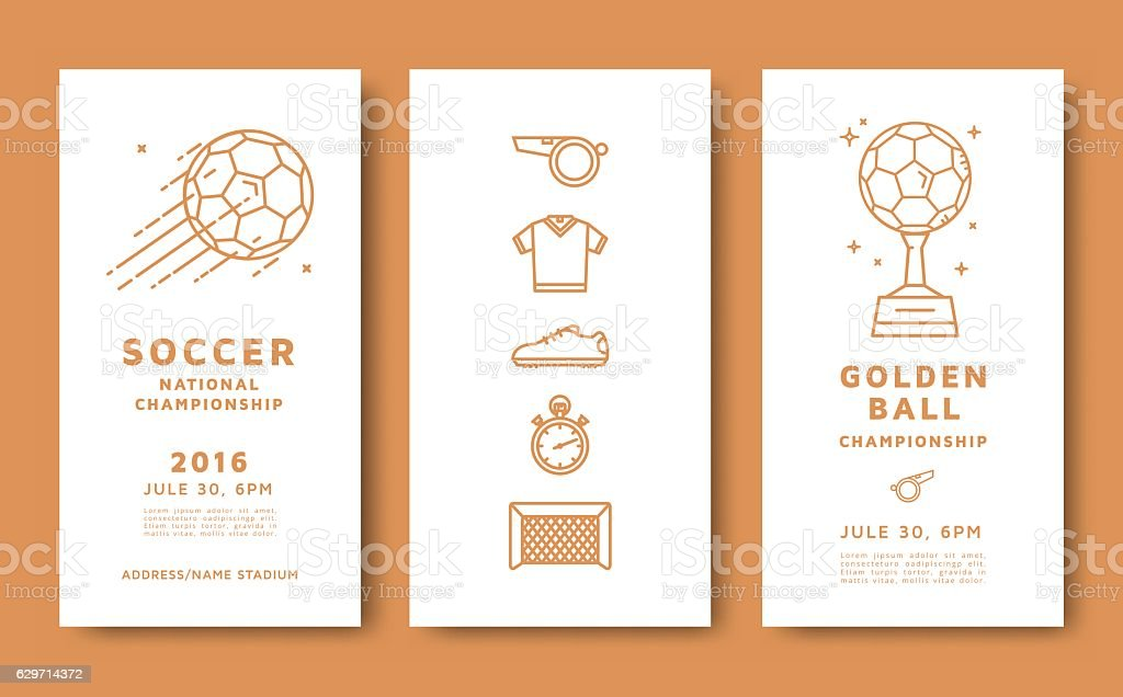 Soccer championship card vector art illustration