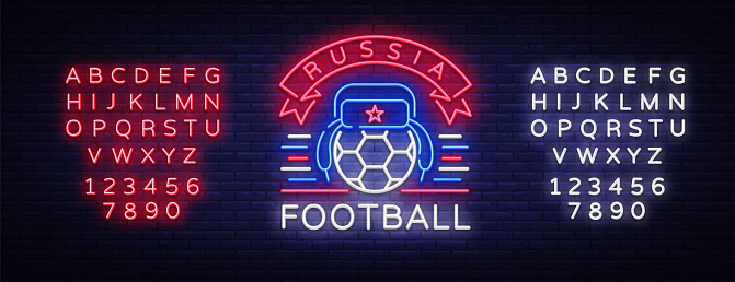 Soccer championship  neon vector. Soccer neon sign, European Football Cup 2018, Light Banner, Design Template whit Russian Earflaps, Soccer Russia, neon signboard. Editing text neon sign
