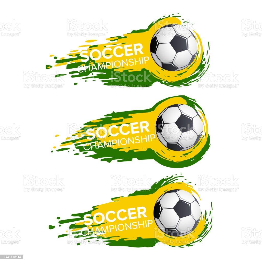 Futbol Campeonato de fútbol deporte torneo juego vector iconos o conjunto  de vuelo de la bola 95b83c2ca9d1