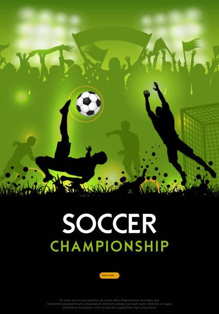 ilustrações de stock, clip art, desenhos animados e ícones de soccer championship poster - soccer supporter portrait