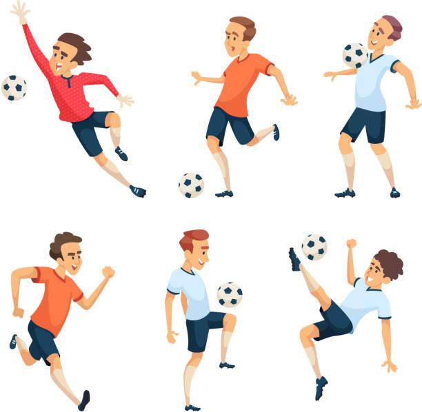 stockillustraties, clipart, cartoons en iconen met voetbal tekens voetballen. geïsoleerde sport mascottes isoleren op wit - soccer player