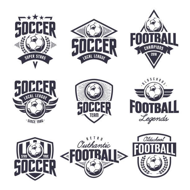 zestaw emblematów soccer classic vector - insygnia stock illustrations