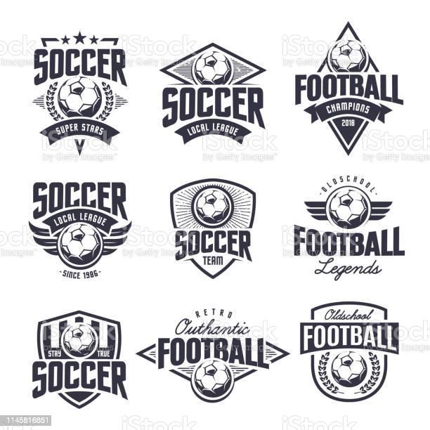Soccer Classic Vector Emblemen Set Stockvectorkunst en meer beelden van Badge