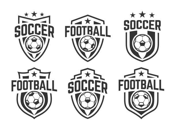 ilustrações, clipart, desenhos animados e ícones de jogo clássico dos emblemas do vetor do futebol - equipe esportiva