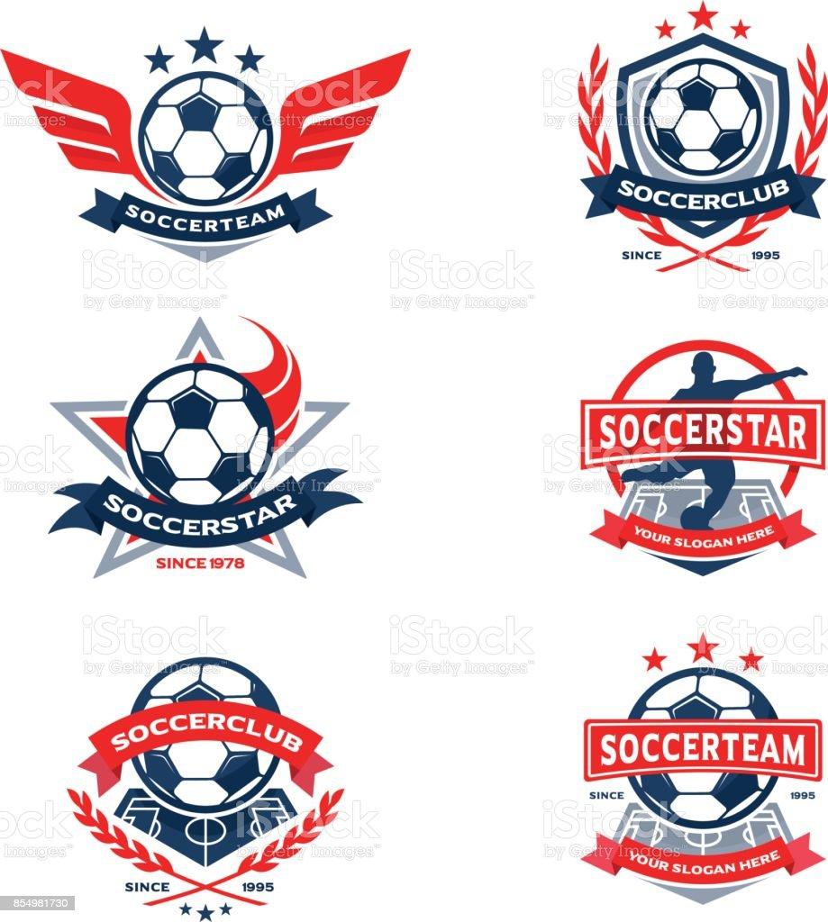 Conjunto de Fútbol Club insignia, emblema del equipo de fútbol - ilustración de arte vectorial