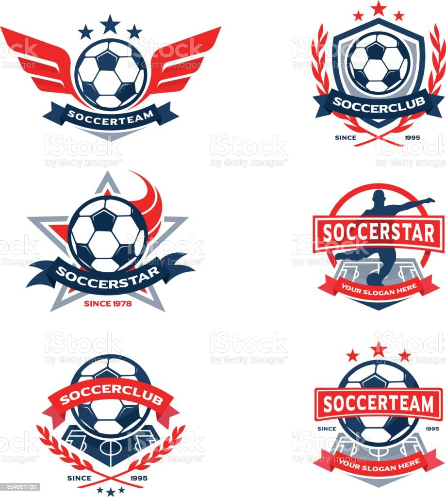 Fußball Club Abzeichen Set, Fußball-Team-Emblem – Vektorgrafik