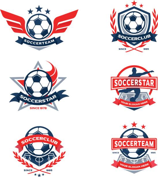 Soccer Club Badge Set, Football Team Emblem vector art illustration