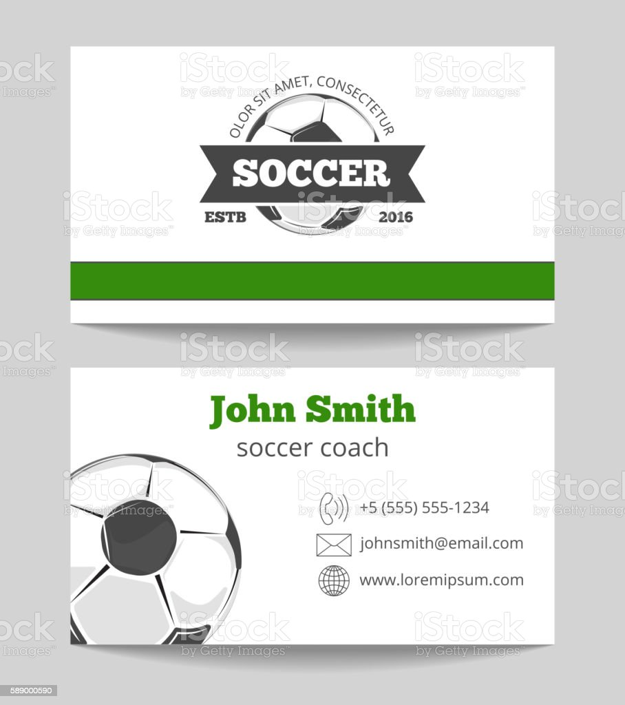 Soccer Club Business Card Template Stock Vector Art & More Images of ...