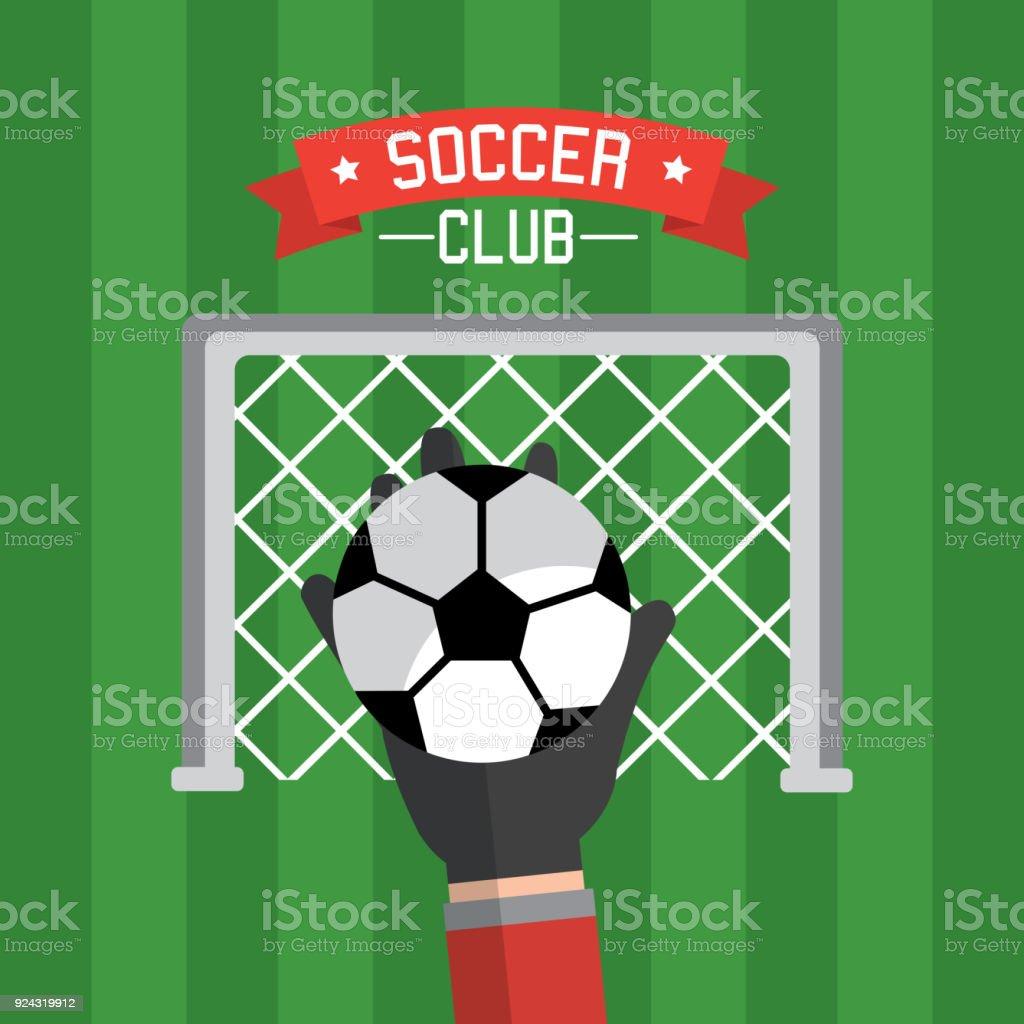 Ilustración de Rojo Y Balón De Fútbol Del Club Mano Portero y más ...