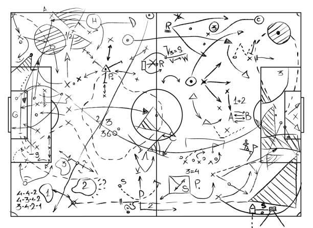 サッカー。コーチング ボード - 戦略点のイラスト素材/クリップアート素材/マンガ素材/アイコン素材