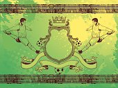Hand drawing soccer coat of arm design.