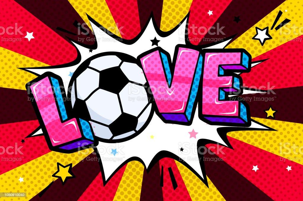 Conceito de futebol no estilo pop art. - ilustração de arte em vetor