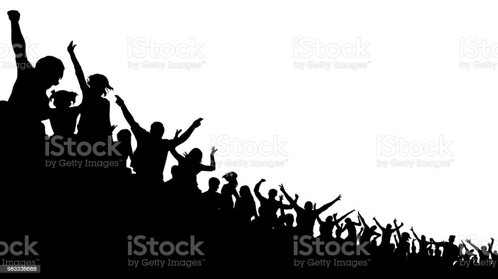 Soccer crowd, cheer fan, vector silhouette background. Basketball, hockey, baseball, stadium audience vector art illustration