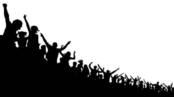 soccer crowd, cheer fan, vector silhouette background. basketball, hockey, baseball, stadium audience - baseball stadium stock illustrations, clip art, cartoons, & icons