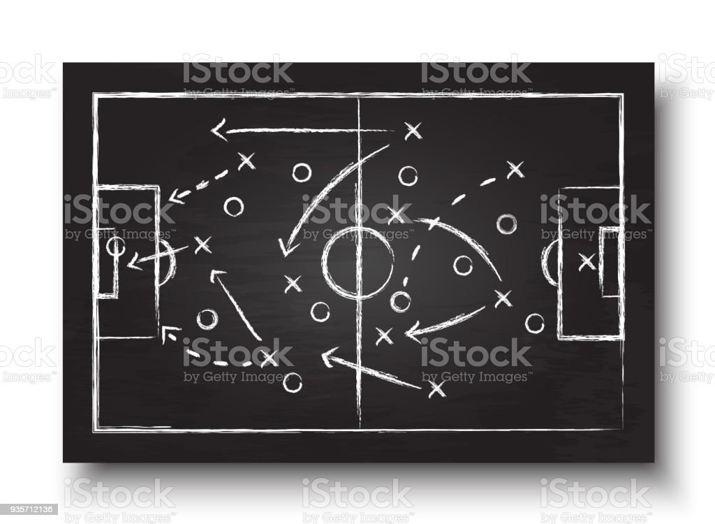 Soccer cup formation and tactic . Blackboard with football game strategy  . Vector for international world championship tournament 2018 concept