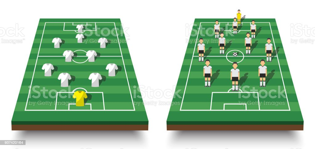 Soccer cup formation and tactic . Set of perspective view football field and players with jersey on white isolated background . Vector for international world championship tournament 2018 concept vector art illustration