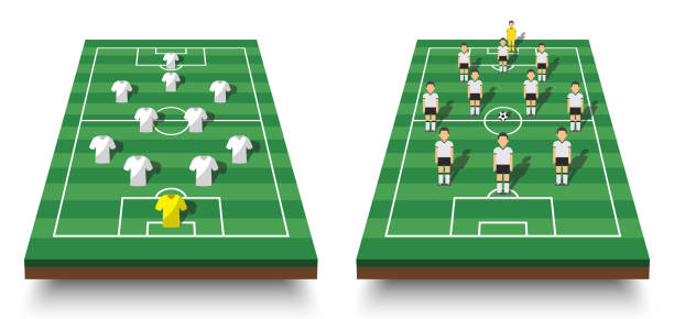 soccer cup formation and tactic . set of perspective view football field and players with jersey on white isolated background . vector for international world championship tournament 2018 concept - football field stock illustrations