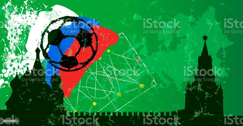 Fußball-Design-Vorlage, russischer Fußball-Großereignis – Vektorgrafik