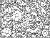 Soccer doodles background