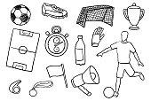 Soccer doodle set. Vector illustration.
