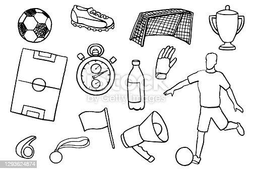 istock Soccer Doodles Set 1293624874