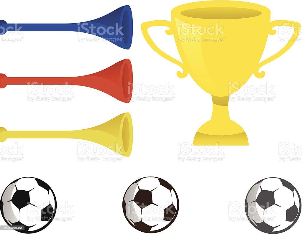 Soccer elements vector art illustration