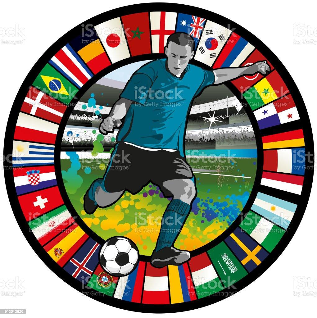 Emblema del fútbol con pelota, los aficionados animando y círculo de banderas 2018 - ilustración de arte vectorial